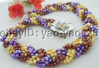 Stunning 6Strds Multi Color Pearl Necklace