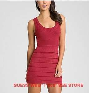 NWT $148 MARCIANO GUESS Payton Red Dress Wool Knit Tunic Tierred Skirt