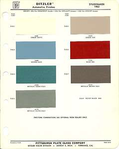 1962 STUDEBAKER Color Chip Paint Sample Brochure/Chart PPG, Ditzler