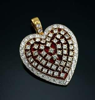 Red Enamel Heart Valentine Crystal Enhancer Glamour Collection
