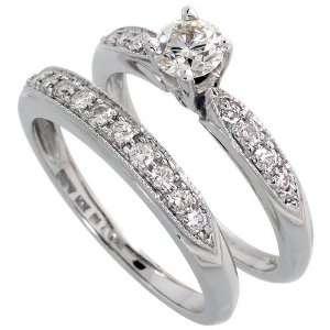 14k White Gold Wedding Ring Set, w/ 0.80 Carat Brilliant Cut Diamonds
