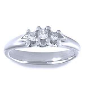 Princess & Round Diamond 14k White Gold Three Stone Ring Jewelry