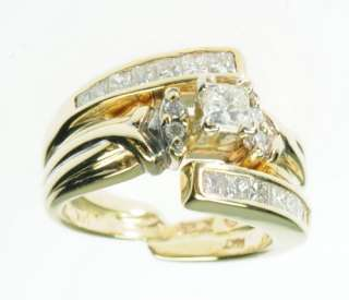 14K SOLID YELLOW GOLD DIAMOND PRINCESS ENGAGEMENT ESTATE RING J195117