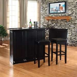 Folding Bar in Black Finish With 29 Inch Upholstered Square Seat Stool