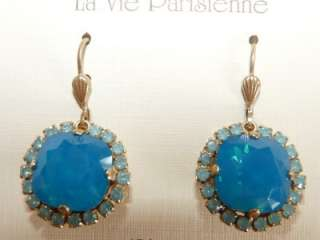 Catherine Popesco French Gold Caribbean blue Swarovski Crystal