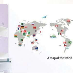 Map of the World Flags Wall Sticker Decal for Baby Nursery Kids Room