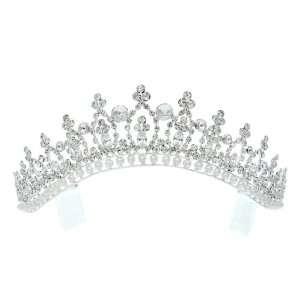 Bridal Princess Rhinestones Crystal Pearl Wedding Crown