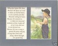 SONs God gave verses poems plaques prints Boys FISHING