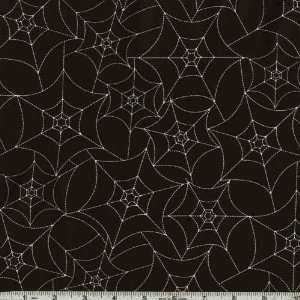 45 Wide Scary Night Spider Webs Black Fabric By The Yard