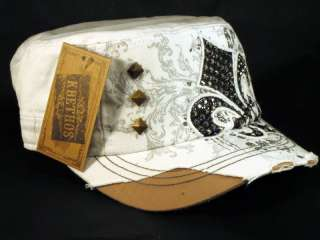 Fleur de lis White KB Ethos Cadet Hat Vintage Military Army Cap Jewels