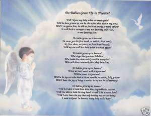 DO BABIES GROW UP IN HEAVEN Poem Prayer Personalized