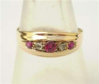 EDWARDIAN 18ct GOLD DIAMOND AND RUBY BOAT RING CHESTER c1911