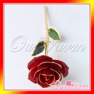 Gold Plated Real Red Rose Flower Valentines day Gift