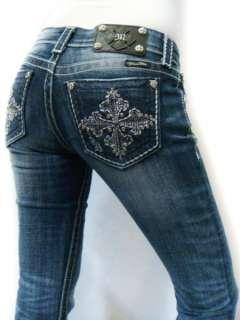 MISS ME Sparkle Crystal Fleur Cross Pick Stitch DK 81 Bootcut Jeans