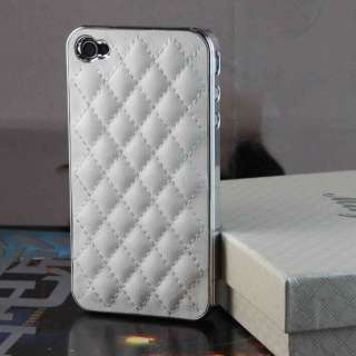 New Luxury Lambskin Case Back Cover For iPhone 4G White W/ Gift Box