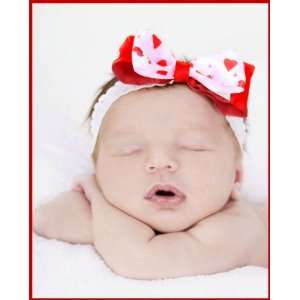 Babys First Valentines Day Red Hearts Lace Headband
