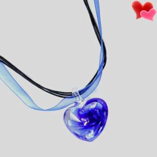 NEW Charm Blue Heart Bead Colored Glaze Pedant Necklace