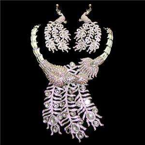 Bridal Peacock Earring Necklace Set Austrian Rhinestone Crystal