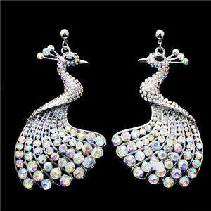Peacock Bird Earring Dangle AB Clear Swarovski Crystal