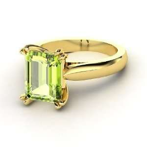 Julianne Ring, Emerald Cut Peridot 14K Yellow Gold Ring
