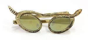 RARE Paulette Guinet Hand Carved Prototype Gold Leaf SNAKE Sunglasses