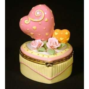 Hearts on Yellow Heart Hinged Trinket Box phb NEW