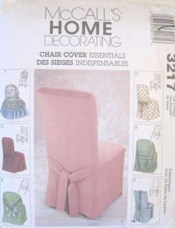 Chair Cover Essential Home Dec Pattern McCalls 3217 New