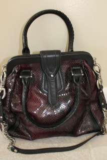 Brown Black Snake Print Patent Leather Handbag Shoulder Bag NEW