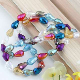 8x12mm *Mix Faceted Teardrop Crystal Glass Bead New 50P