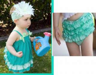 Baby Ruffle Top Dress+Pants Set New Bloomers Nappy Cover Size0 4Y Free