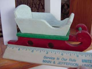 painted wooden SANTA CLAUS SLEIGH Christmas vtg wood prim folksy decor