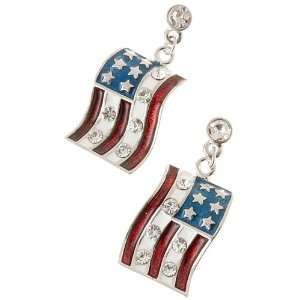 Patriotic American Flag Charm Crystal Earrings Silver