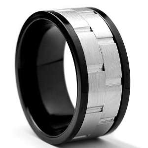 10MM Black Stainless Steel Brick Style Spinner Ring Size 10: Jewelry