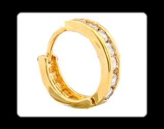 HOOP JEWELRY CLEAR TOPAZ YELLOW GOLD GP EARRINGS RING