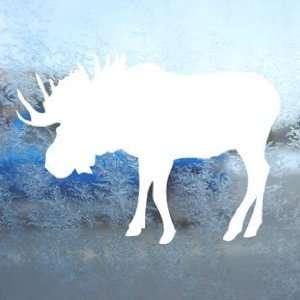 Bull Moose Hunting White Decal Car Window Laptop White