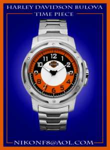 MEN'S BULOVA HARLEY DAVIDSON WATCH ORANGE & BLACK COLOR