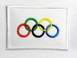 OLYMPIC GAME LOGO FLAG IRON ON PATCH EMBROIDERED I047