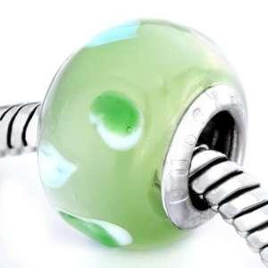 Little Green Hearts Murano Glass Beads Fits Pandora Charm Bracelet