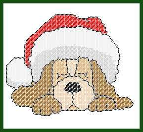 Dog in Santa Hat Plastic Canvas Wallhanging PATTERN
