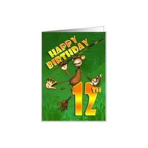 Happy 12th Birthday Monkey Banana Card Toys & Games