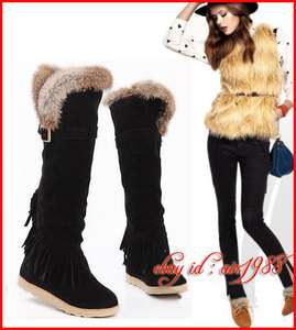 New Rabbit Fur Suede Fringes Winter Snow Over The Knee Flats Womens