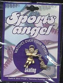 Ice Skating Figure Guardian Angel Goldtone Pin D Brooch