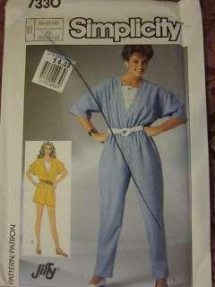 Vintage Simplicity Pattern 7330 Misses Jumpsuit 1986