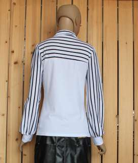 Korea Fashion Office Ladies Stripes Top Long Sleeve Bowknot Top Bowtie