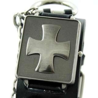 Wide Cuff Wrist Watch Band Cross Cover Black Leather AU