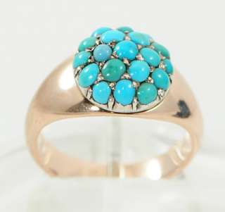 Victorian 9 Ct Rose Gold Mans Turquoise Ring Size 6 1/2 or N c1880