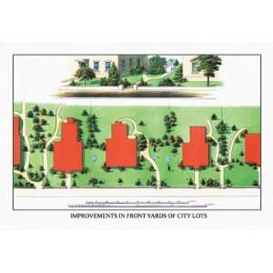 Improvements in Front Yards of City Lots 12x18 Giclee on