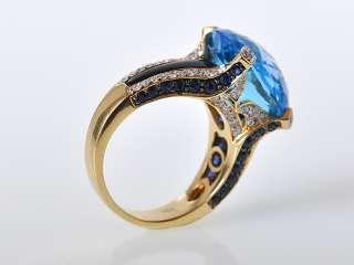 18K Yellow Gold Topaz Sapphire Diamond Smooth Oval Ring