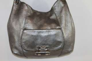 MICHAEL KORS TONNE SILVER LEATHER W/PYTHON ACCENTS HOBO