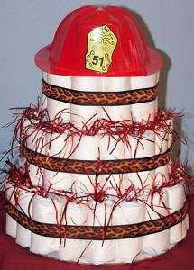 FIREMAN/FIREFIGHTER Diaper Cake Baby Shower Gift